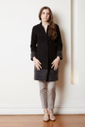 felted wool coat with mohair cuff and trim