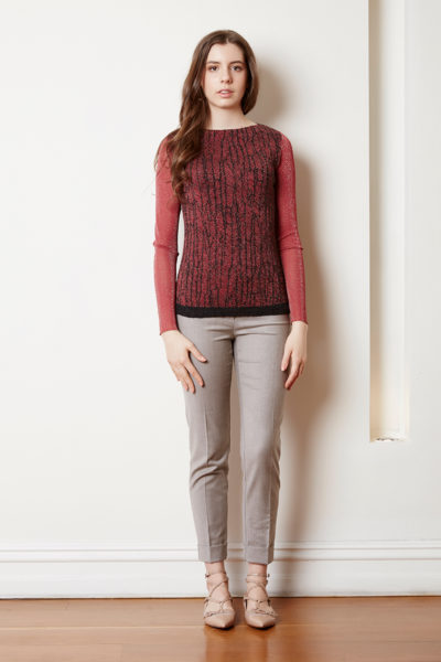 boat neck sweater with sheer sleeve