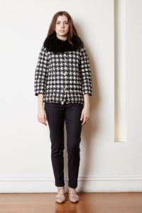 houndstooth jacket with detachable fur collar