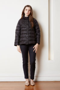 Puffer with lace detail