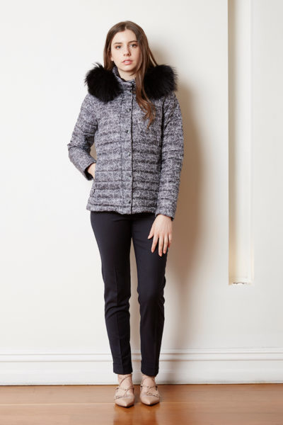 blk white puffer with detachable fur hood