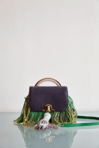 small handbag with multicolor fringe detail