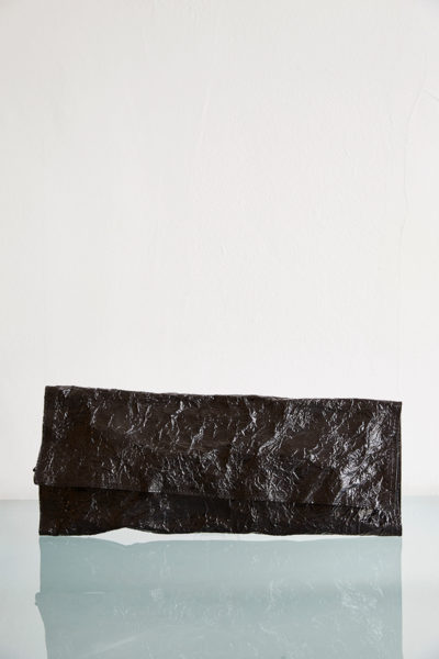 steel long leather clutch